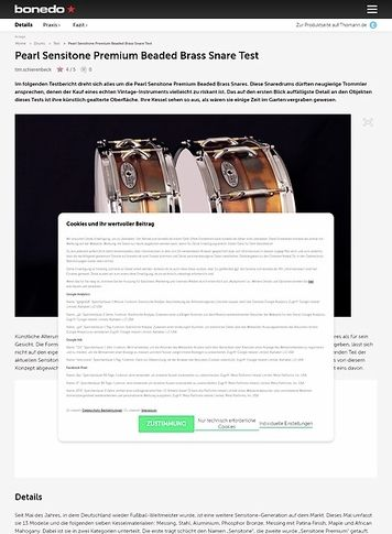 Bonedo.de Pearl Sensitone Premium Beaded Brass Snare