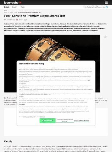 Bonedo.de Pearl Sensitone Premium Maple Snares