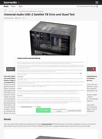 Bonedo.de Universal Audio UAD-2 Satellite TB Octo und Quad