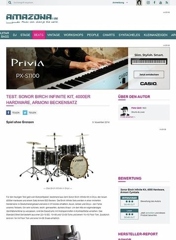 Amazona.de Test: Sonor Birch Infinite Kit, 4000er Hardware, Armoni Beckensatz