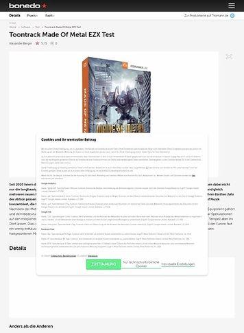 Bonedo.de Toontrack Made Of Metal EZX