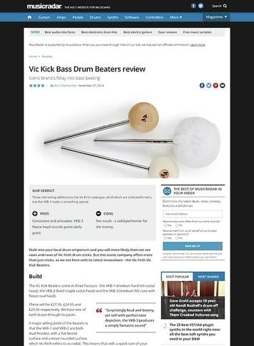 MusicRadar.com Vic Kick Bass Drum Beaters