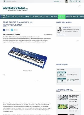 Amazona.de Test: Physis Piano K4 Ex, K5, Masterkeyboard