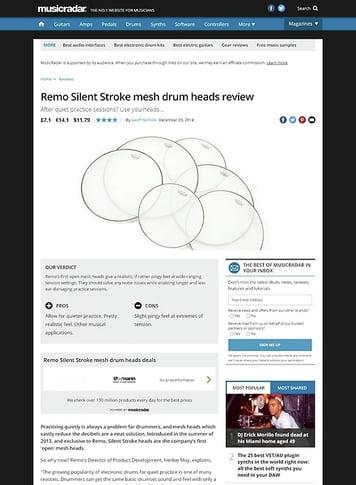 MusicRadar.com Remo Silent Stroke mesh drum heads