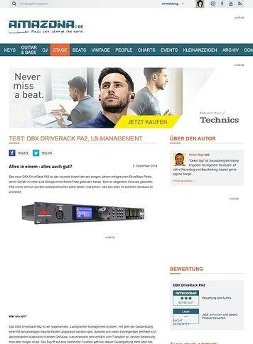 Amazona.de Test: DBX DriveRack PA2, LS-Management