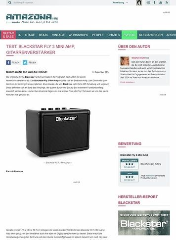 Amazona.de Test: Blackstar FLY 3 Mini Amp, Gitarrenverstärker