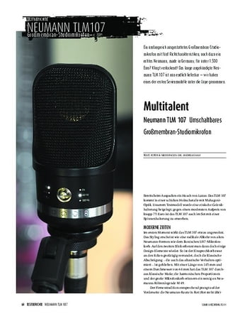 Sound & Recording Neumann TLM 107 - Umschaltbares Großmembran-Kondensatormikrofon