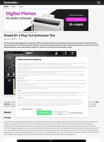 Bonedo.de Roland SH-2 Plug-Out Synthesizer