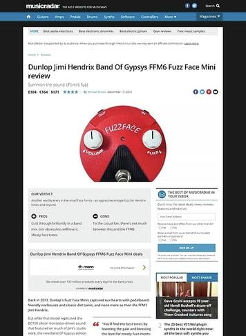 MusicRadar.com Dunlop Jimi Hendrix Band Of Gypsys FFM6 Fuzz Face Mini
