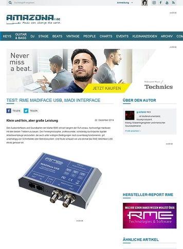 Amazona.de Test: RME Madiface USB, MADI Interface