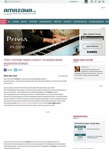 Amazona.de Test: HoTone Nano Legacy Thunder Bass, Bassverstärker