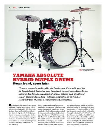 Sticks Yamaha Absolute Hybrid Maple Drums