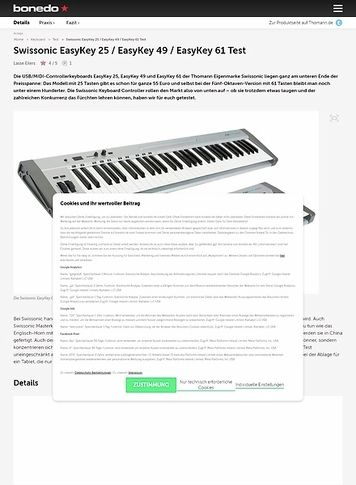Bonedo.de Swissonic EasyKey 25 / EasyKey 49 / EasyKey 61