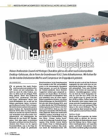 Professional Audio Fredenstein V.A.S. MicPre und V.A.S. Comp