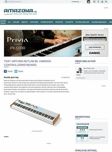 Amazona.de Test: Arturia Keylab 88, USB/MIDI-Controllerkeyboard