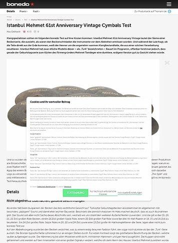 Bonedo.de Istanbul Mehmet 61st Anniversary Vintage Cymbals