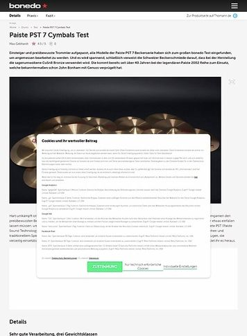 Bonedo.de Paiste PST 7 Cymbals