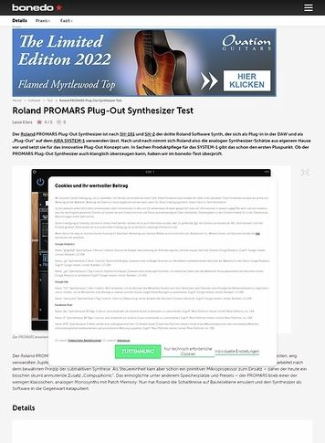 Bonedo.de Roland PROMARS Plug-Out Synthesizer