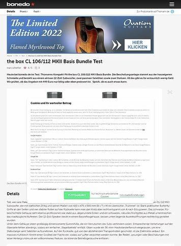 Bonedo.de the box CL 106/112 MKII Basis Bundle