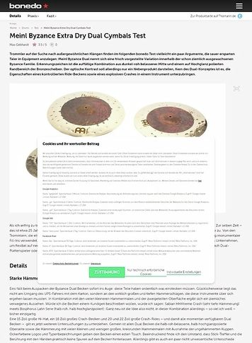 Bonedo.de Meinl Byzance Extra Dry Dual Cymbals