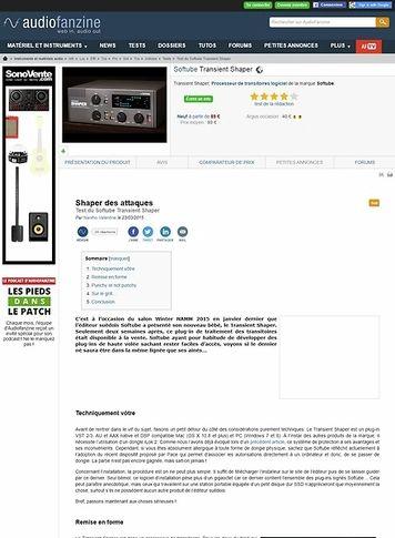 Audiofanzine.com Softube Transient Shaper