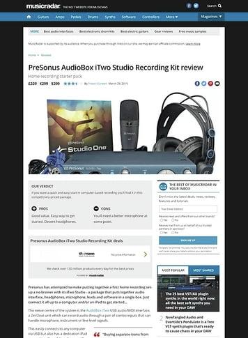 MusicRadar.com PreSonus AudioBox iTwo Studio Recording Kit