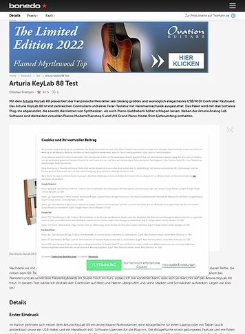 Bonedo.de Arturia KeyLab 88