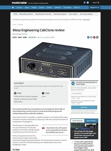 MusicRadar.com Mesa Engineering CabClone