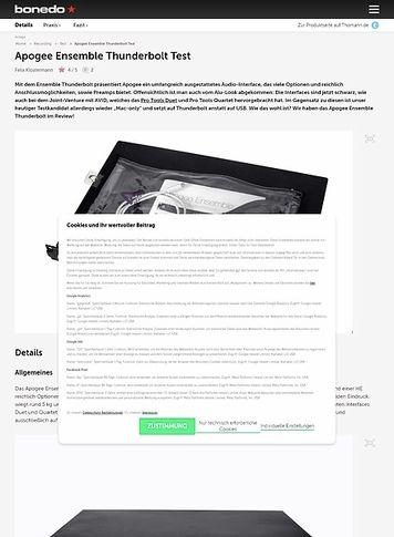 Bonedo.de Apogee Ensemble Thunderbolt