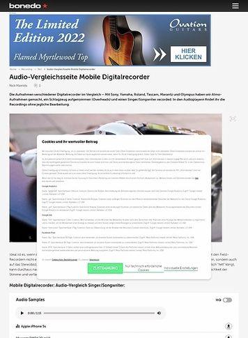 Bonedo.de Audio-Vergleichsseite Mobile Digitalrecorder