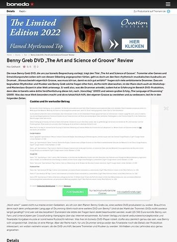 "Bonedo.de Benny Greb DVD ""The Art and Science of Groove"""