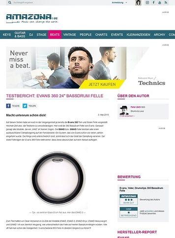 "Amazona.de Testbericht: EVANS 360 24"" Bassdrum Felle"
