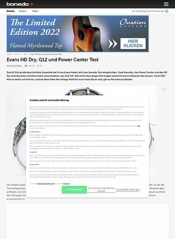 Bonedo.de Evans HD Dry, G12 und Power Center
