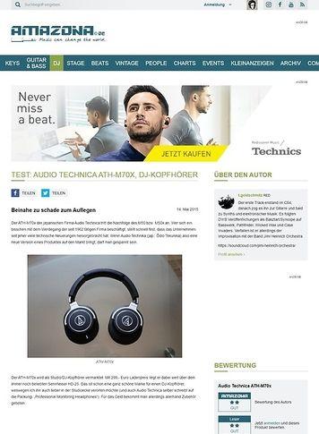 Amazona.de Test: Audio Technica ATH-M70x, DJ-Kopfhörer
