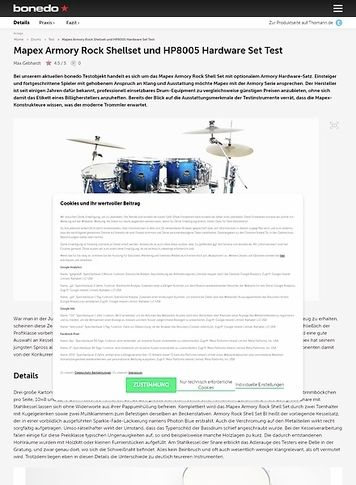 Bonedo.de Mapex Armory Rock Shellset und HP8005 Hardware Set
