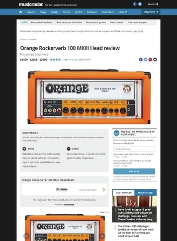 MusicRadar.com Orange Rockerverb 100 MKIII Head