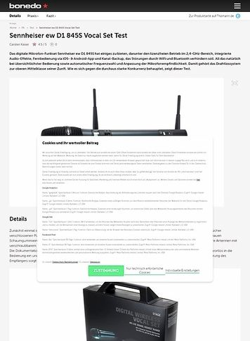 Bonedo.de Sennheiser ew D1 845S Vocal Set