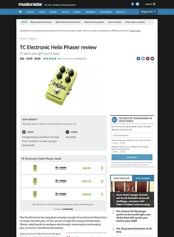 MusicRadar.com TC Electronic Helix Phaser