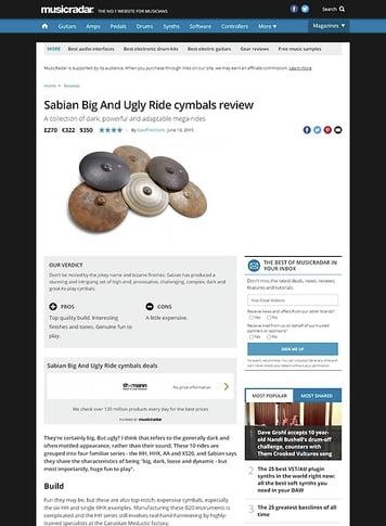 MusicRadar.com Sabian Big And Ugly Ride cymbals