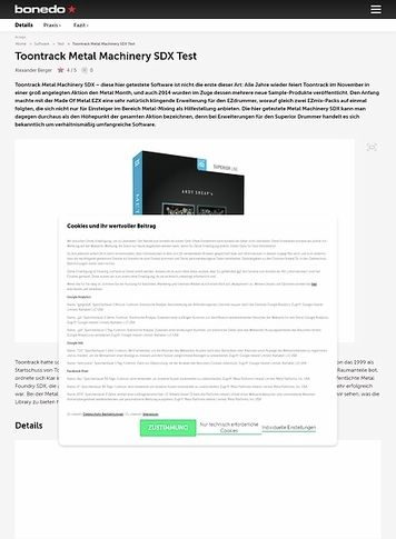 Bonedo.de Toontrack Metal Machinery SDX