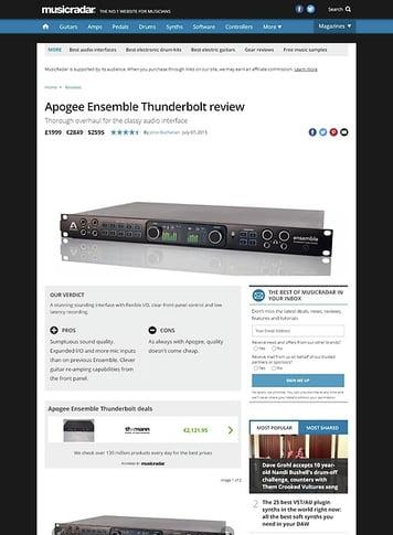 MusicRadar.com Apogee Ensemble Thunderbolt
