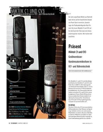 Sound & Recording Miktek C1 und CV3 - Großmembran-Kondensatormikrofone in FET- und Röhrentechnik