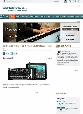Amazona.de Test: Behringer XR18, XR16, Digitalmixer, Teil 2