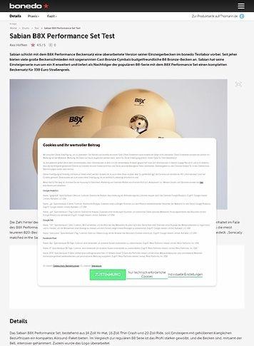 Bonedo.de Sabian B8X Performance Set