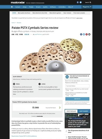 MusicRadar.com Paiste PSTX Cymbals Series