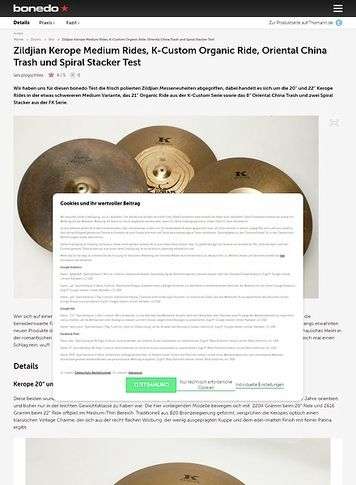 Bonedo.de Zildjian Kerope Medium Rides, K-Custom Organic Ride, Oriental China Trash und Spiral Stacker