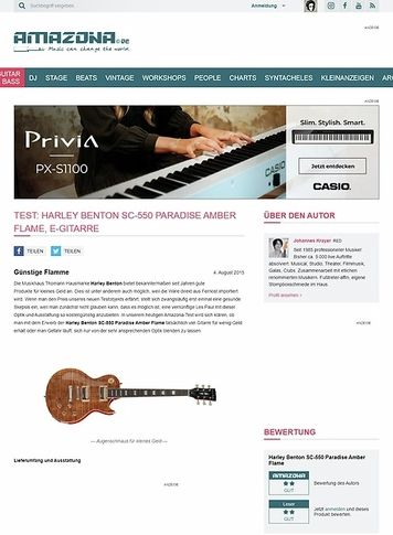 Amazona.de Test: Harley Benton SC-550 Paradise Amber Flame, E-Gitarre