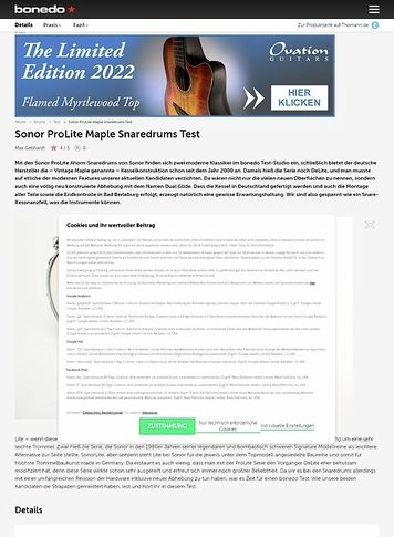 Bonedo.de Sonor ProLite Maple Snaredrums