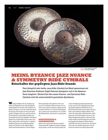Sticks Meinl Byzance Jazz Nuance & Symmetry Ride Cymbals