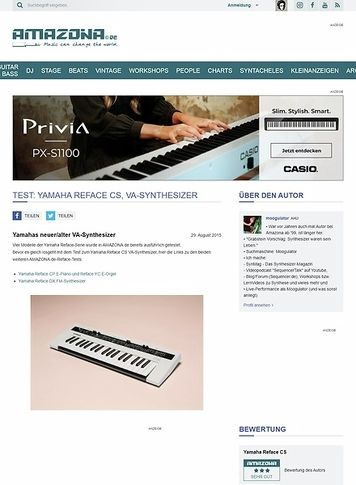 Amazona.de Test: Yamaha Reface CS, VA-Synthesizer